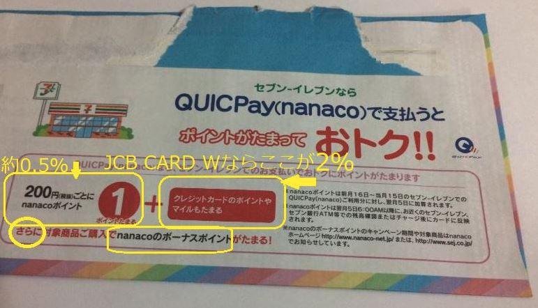 JCB CARD WでのQUICPay(nanaco)のセブン-イレブンでの還元率