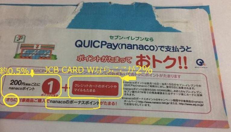 セブン-イレブンでのJCB CARD WのQUICPay(nanaco)払いの時の還元率