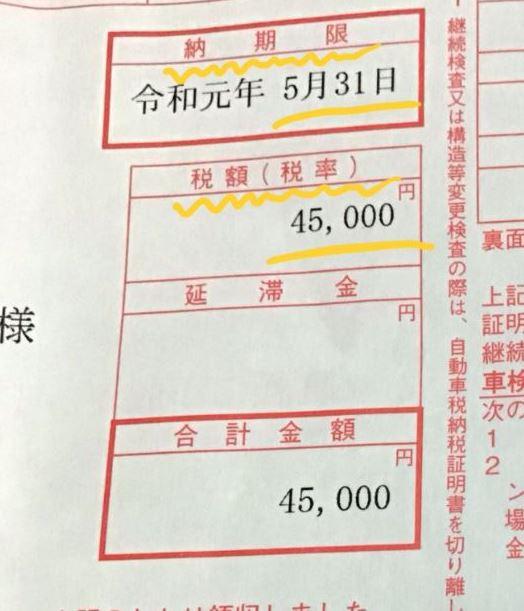 自動車税種別割(旧、自動車税)の税額45000円。納期限令和元年5月31日の請求書