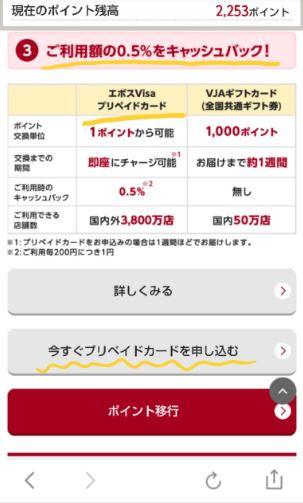 エポスVISAプリペイドカードは最初に「今すぐプリペイドカードを申し込む」から申し込める。利用したら0.5%キャッシュバック。
